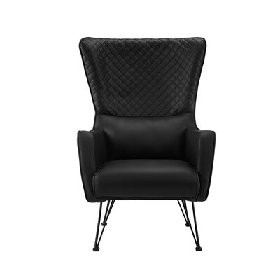 Bianco Mid-Century Faux Leather Wingback Chair Upholstery: Black