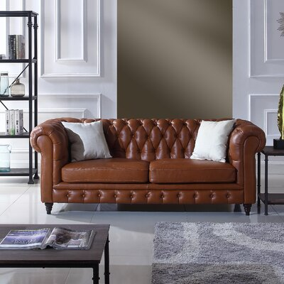 Kacper Leather Chesterfield Sofa Upholstery: Camel