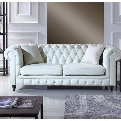 Kacper Leather Chesterfield Sofa Upholstery: Ivory