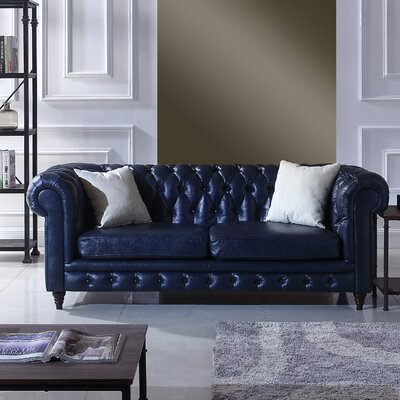 Kacper Leather Chesterfield Sofa Upholstery: Midnight Blue