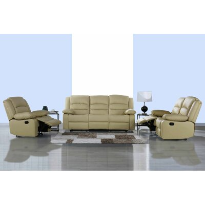Classic 3 Piece Leather Living Room Set Upholstery: Beige