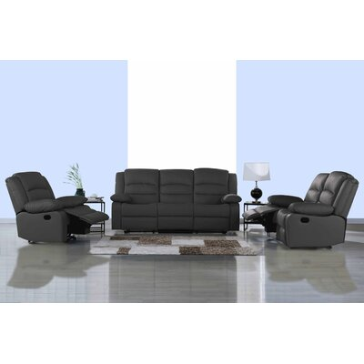 Classic 3 Piece Leather Living Room Set Upholstery: Gray