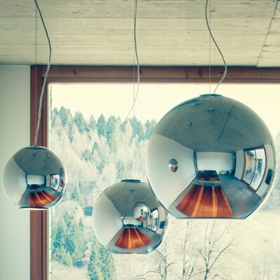 Globo di Luce Pendant Light - Colors Shade Color: Chrome-Plated, Size: 16.9 H x 17.7 Dia