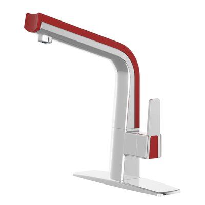 Matisse Single Handle Deck Mounted Standard Kitchen Faucet Finish: Polished Chrome / Red