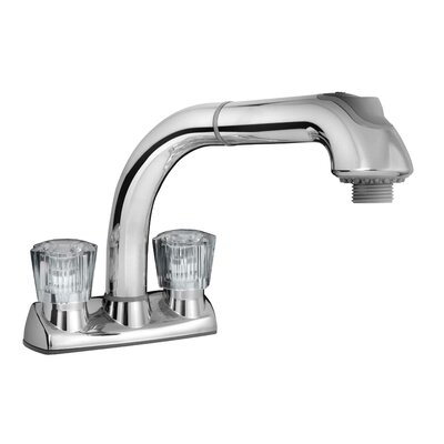 Double Handle Centerset Faucet with Pull Out Utility Finish: Polished Chrome