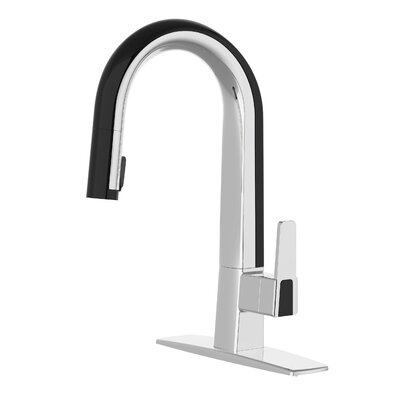 Willow Single Handle Deck Mounted Standard Kitchen Faucet with Pull Down Finish: Polished Chrome / Blue