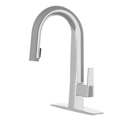 Willow Pull Down Single Handle Kitchen Faucet Finish: Polished Chrome / Gray
