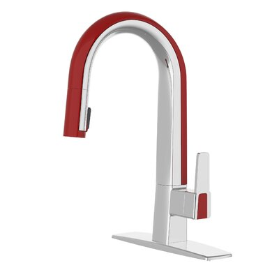 Willow Single Handle Deck Mounted Standard Kitchen Faucet with Pull Down Finish: Polished Chrome / Red