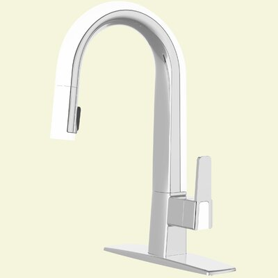 Willow Single Handle Deck Mounted Standard Kitchen Faucet with Pull Down Finish: Polished Chrome / White