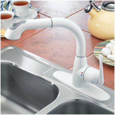 Lily Single Handle Deck Mounted Standard Kitchen Faucet with Pull Out Finish: Attractive White