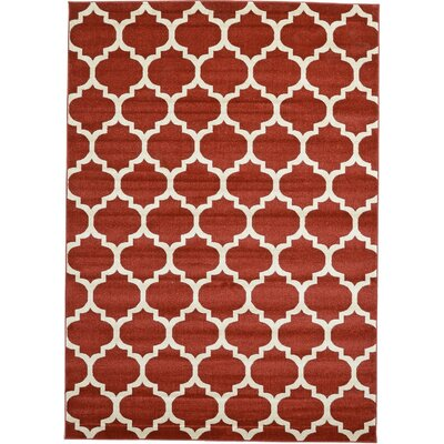 Brooklyn Red/Ivory Area Rug Rug Size: 2 x 211