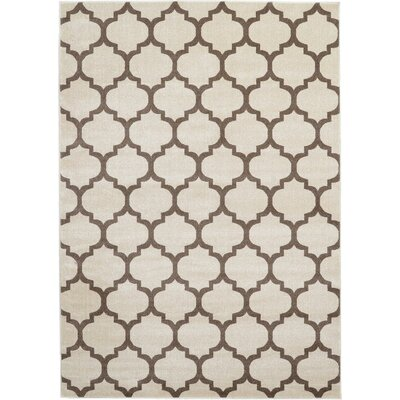 Brooklyn Ivory/Brown Area Rug Rug Size: 53 x 710