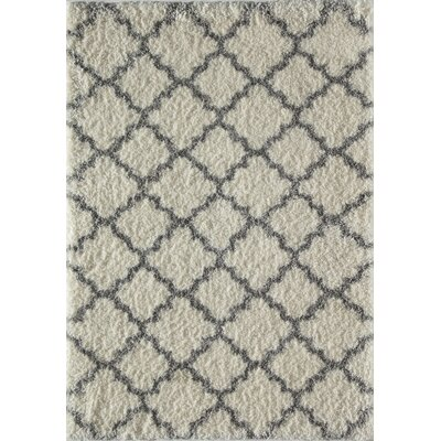 Aria Quatrefoil Ivory/Gray Area Rug Rug Size: Runner 23 x 8