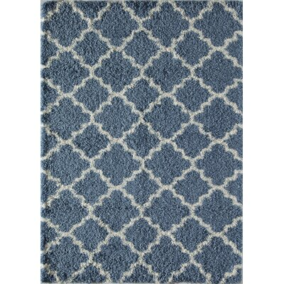 Crescent Quatrefoil Ivory/Light Blue Area Rug Rug Size: 2 x 4