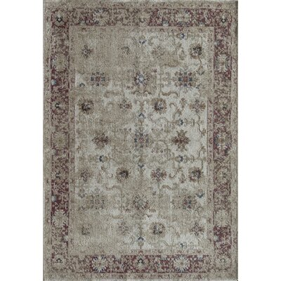 Bedford Cordone Ivory/Red Area Rug Rug Size: 5 x 8