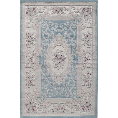 Rugs America Kensington Fiona Light Blue Area Rug Rug Size: Rectangle 5 x 8
