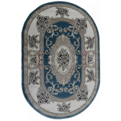 Kensington Fiona Light Blue Area Rug Rug Size: Oval 4 x 6