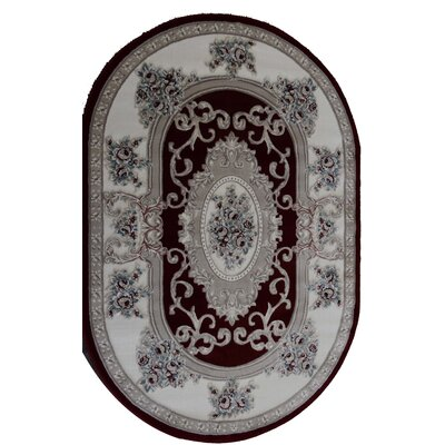 Kensington Dell Burgundy Area Rug Rug Size: Oval 4 x 6