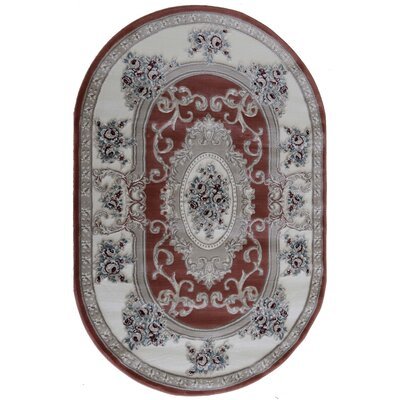 Kensington Rose Area Rug Rug Size: Oval 4 x 6
