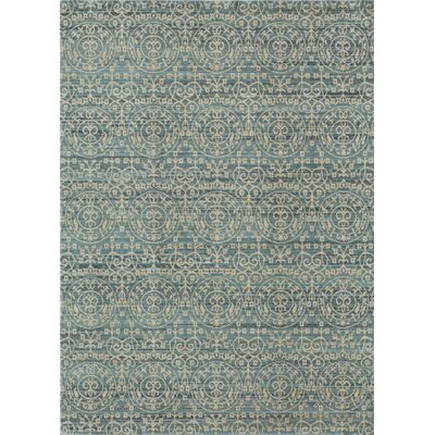 Asteria Blue/Gold Area Rug Rug Size: 4 x 6