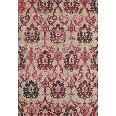 Beverly Ivory Fuchsia Area Rug Rug Size: Rectangle 53 x 76