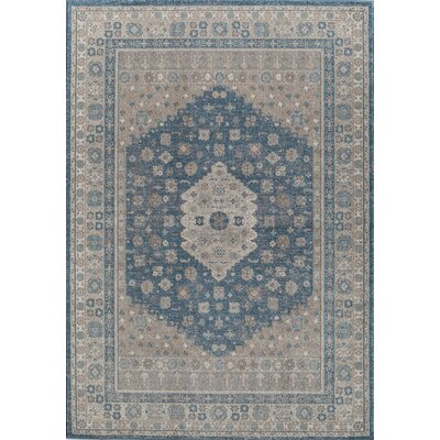 Estelle Machine Woven Seafoam/Cream Area Rug Rug Size: 53 x 76