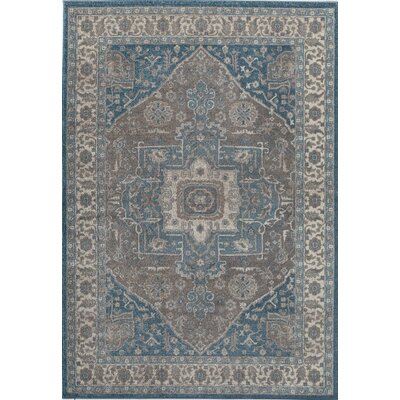 Estelle Frisson Gray/Blue Area Rug Rug Size: 710 x 910