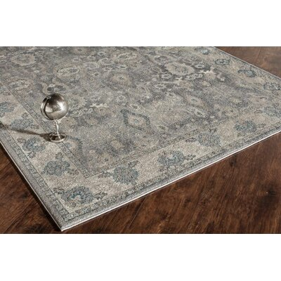 Estelle Thespian Slate Gray/Ivory Area Rug Rug Size: 53 x 76