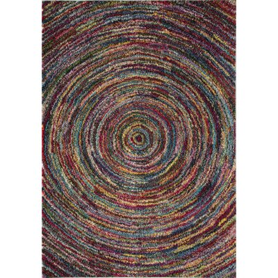 Iris Circles Red/Yellow Area Rug Rug Size: 5 x 8