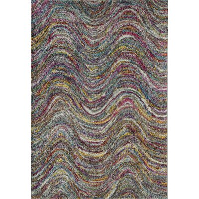 Iris Waves Blue/Red Area Rug Rug Size: 5 x 8