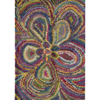 Iris Bud Flower Yellow/Blue Area Rug  Rug Size: 5 x 8