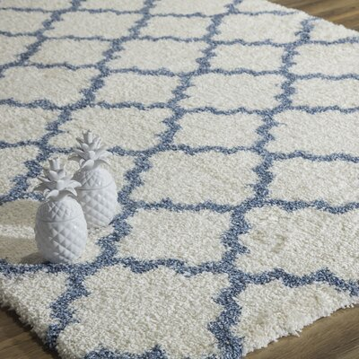 Maxine Quatrefoil Ivory/Light Blue Area Rug Rug Size: Runner 23 x 8