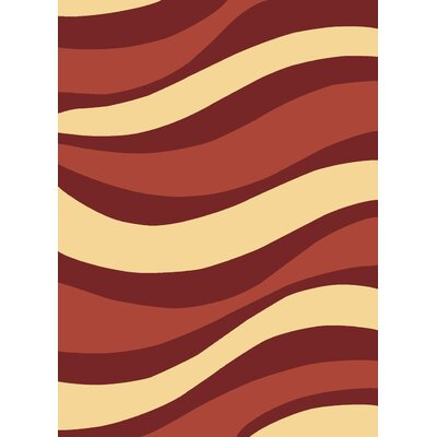 Torino Waves Red Contemporary Rug