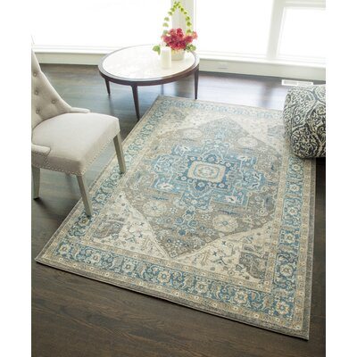Estelle Sway Blue/Gray Area Rug Rug Size: 4 x 57