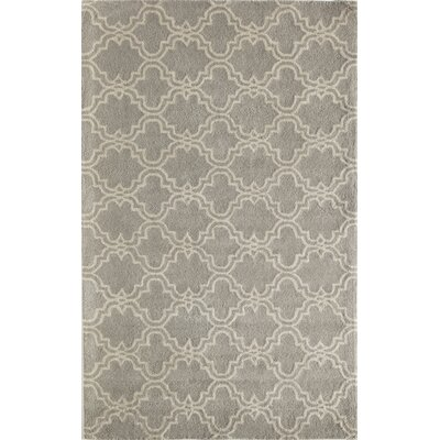Aubin Geometric Hand-Tufted Wool Gray Area Rug Rug Size: 5 x 8