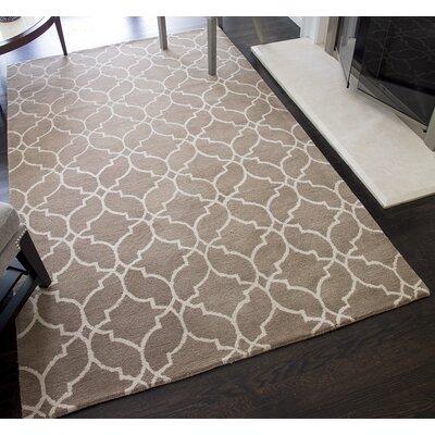 Deerberry Geometric Hand-Tufted Wool Beige Area Rug Rug Size: 5 x 8