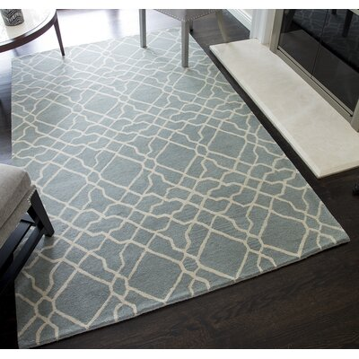 Ashley Geometric Hand-Tufted Wool Light Blue Area Rug Rug Size: 5 x 8