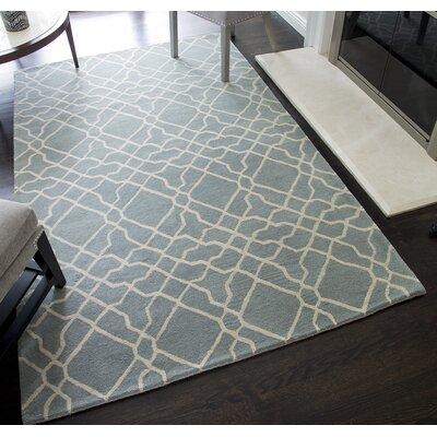 Ashley Geometric Hand-Tufted Wool Light Blue Area Rug Rug Size: 8 x 10