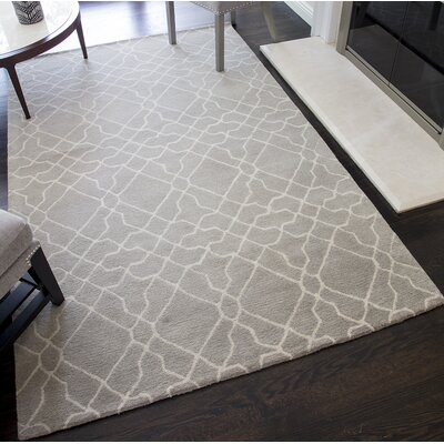 Pomeroy Geometric Hand-Tufted Wool Gray Area Rug Rug Size: 5 x 8