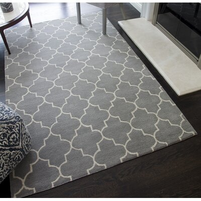 Auda Geometric Hand-Tufted Wool Gray Area Rug Rug Size: 5 x 8