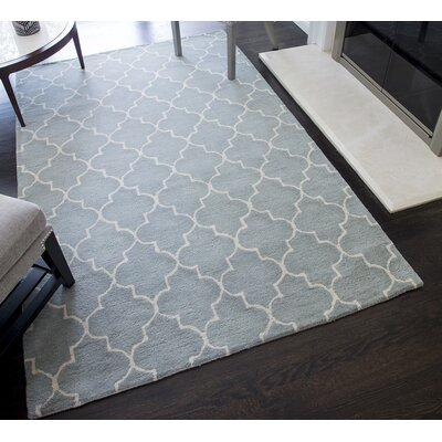 Barthelemy Geometric Hand-Tufted Wool Light Blue Area Rug Rug Size: 5 x 8