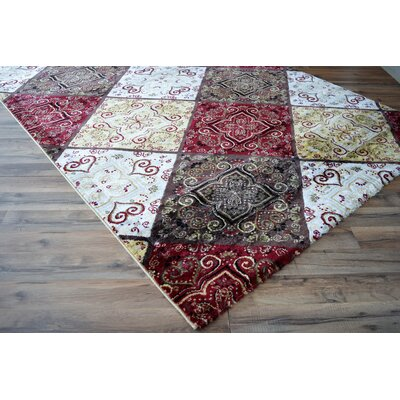 Folcroft Panels Red/White Area Rug