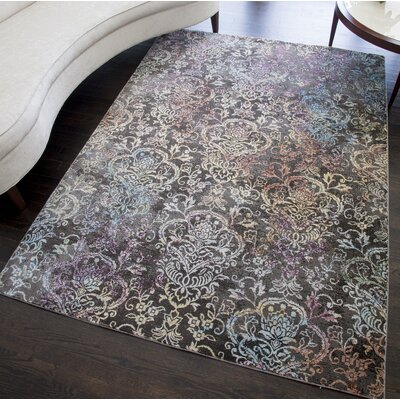 Chaves Damask Gray Area Rug Rug Size: Rectangle 5 x 7