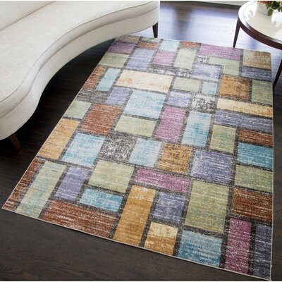 Zendejas Distressed Brown/Blue/Purple Area Rug Rug Size: Rectangle 5 x 7