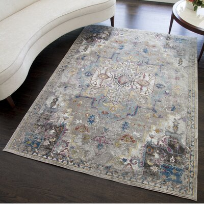 Cheesman Distressed Gray Area Rug Rug Size: Rectangle 5 x 7