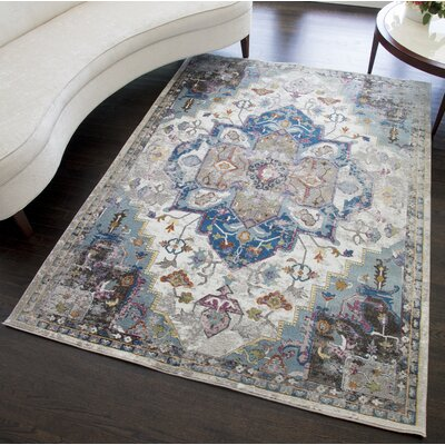 Chelvey Distressed Gray/Blue Area Rug Rug Size: Rectangle 8 x 10