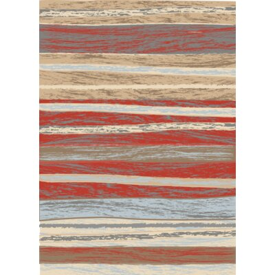 Moya Striped Red/Beige Area Rug Rug Size: Rectangle 8 x 10