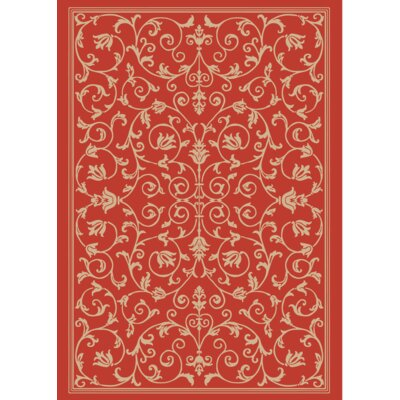 Benefield Vines Red Area Rug Rug Size: Rectangle 5 x 7
