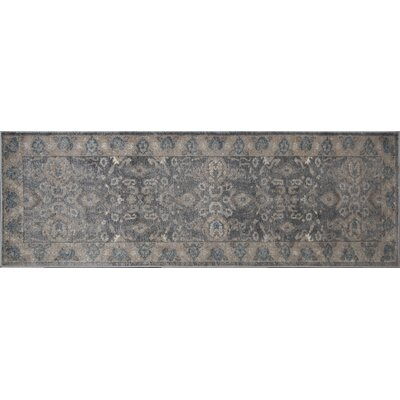Estelle Thespian Slate Gray/Ivory Area Rug Rug Size: Runner 22 x 76