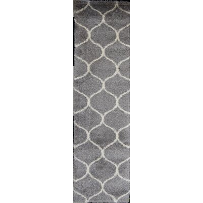 Modom Shag Links Gray/Ivory Area Rug Rug Size: Runner 23 x 8